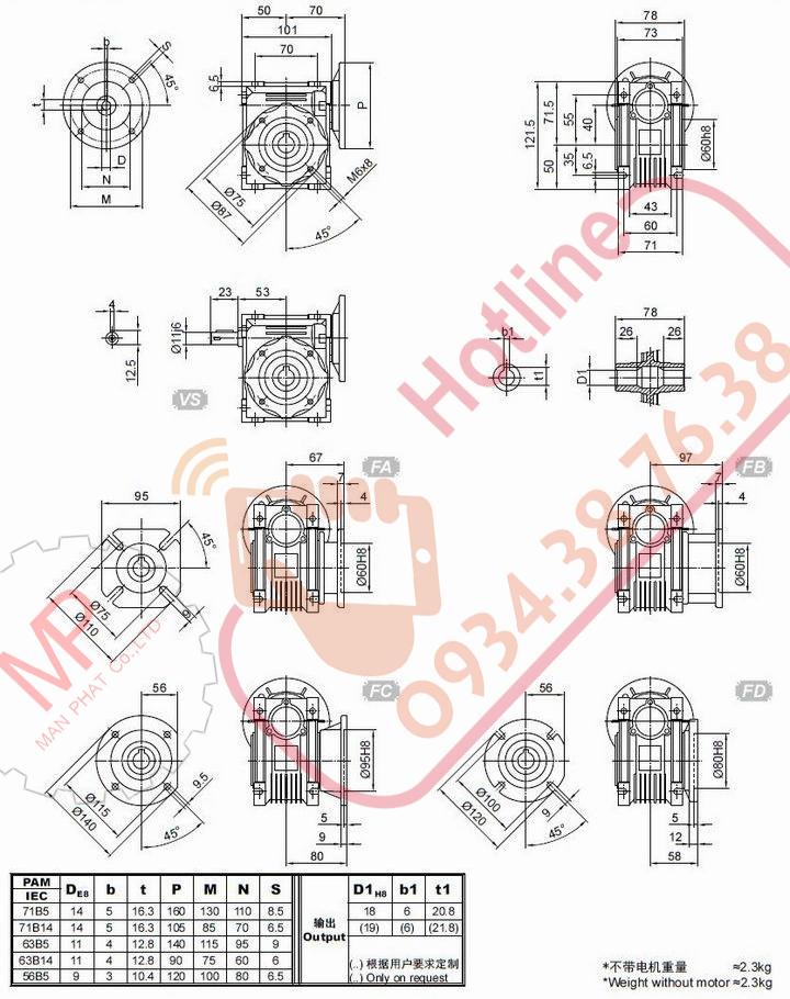 catalogue hộp số giảm tốc cốt âm vuông góc